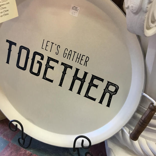 """White Metal """"Let's Gather Together"""" Tray"""