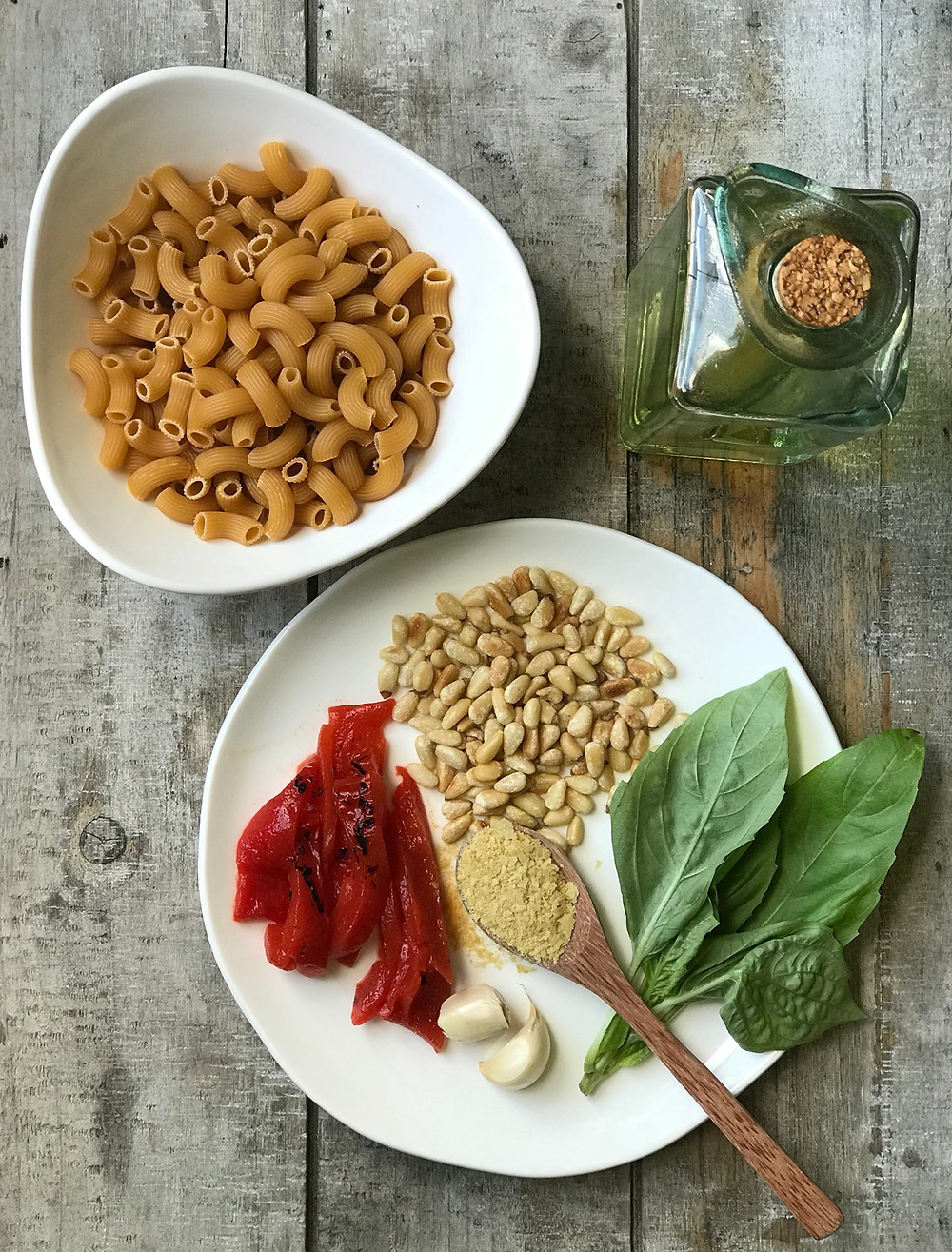 Vegan pesto chickpea Banza pasta with roasted red peppers