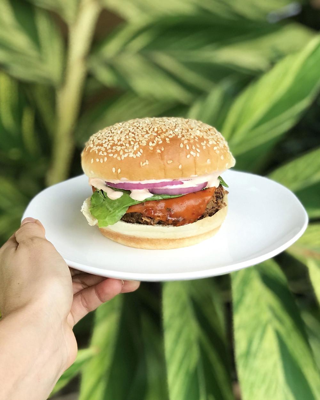 Black bean sweet potato vegan burger with vegan cheese