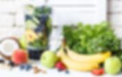 Fruit, banana, kale, spinah, smoothe, berries, peach, apple, strawberry, almond, vegan