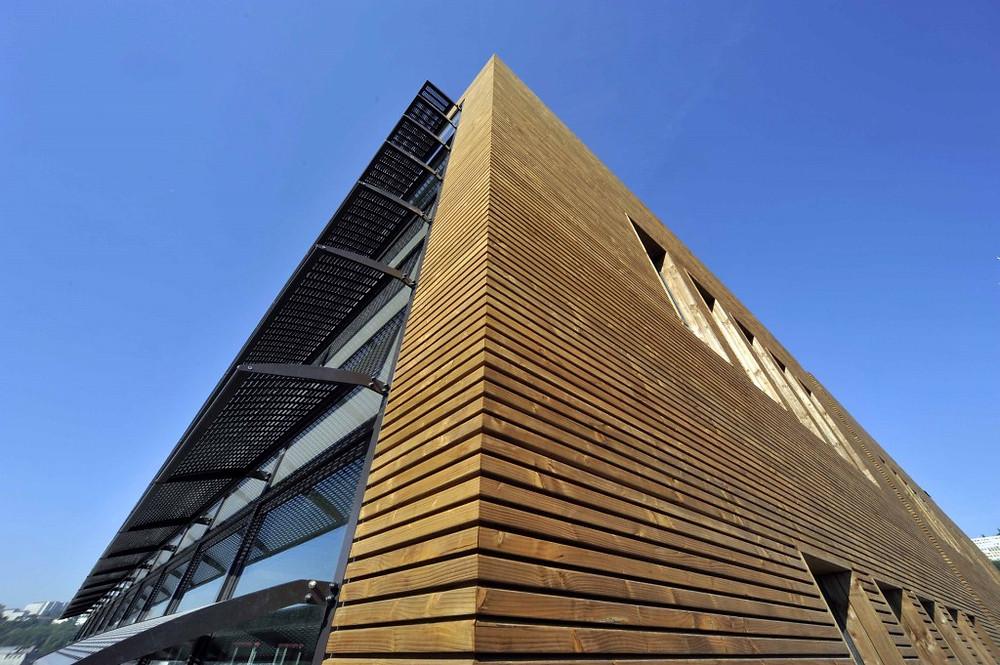 Immeuble Lyon Confluence (69) - Bardage en douglas français Monnet Sève Sougy