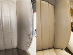 detail opravy kožené sedačky Jaguár