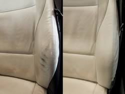 detail opravy kožené sedačky v BMW Z4