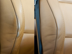 detail opravy kůže na sedačce BMW 335i
