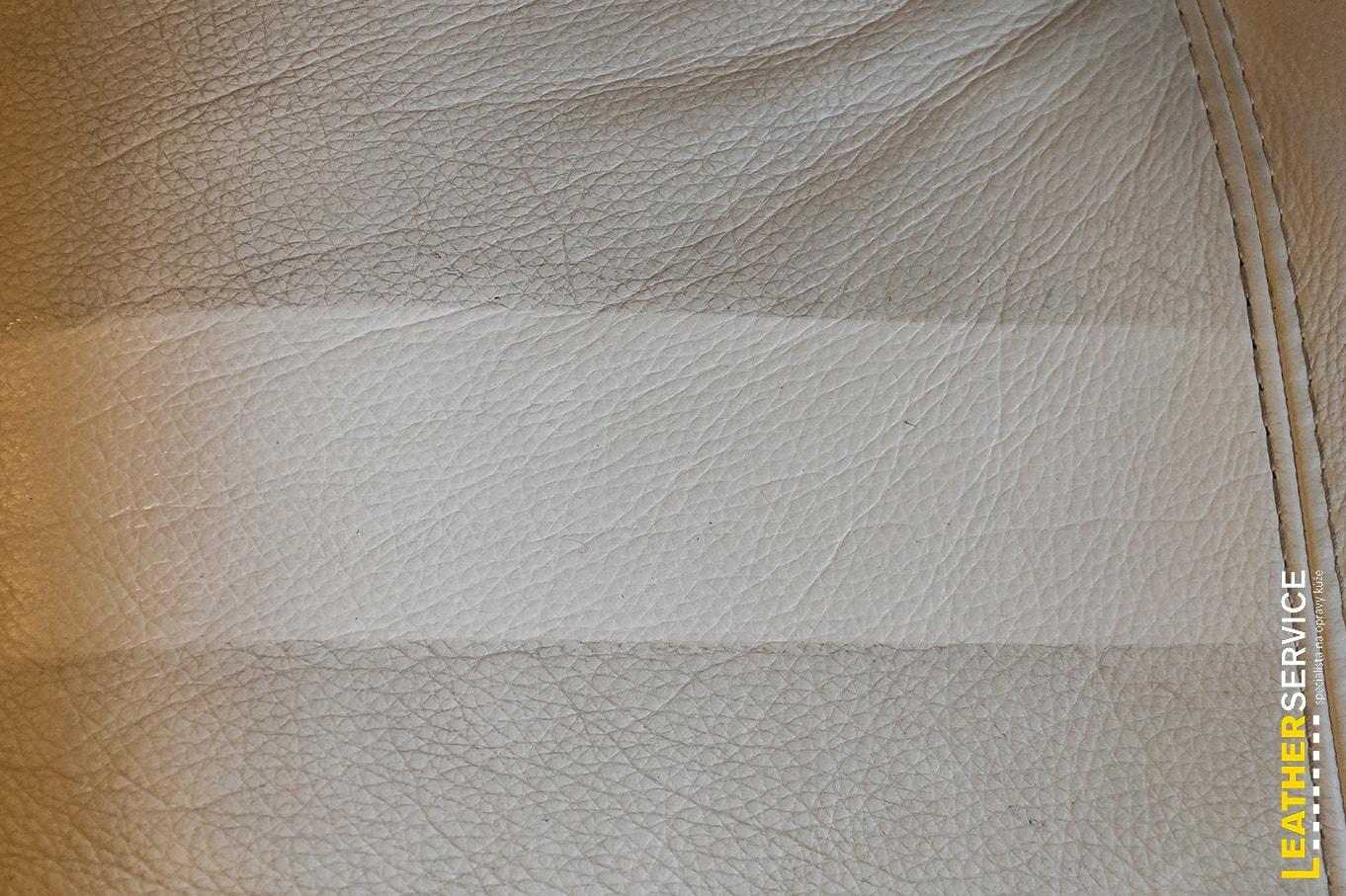 Test čištění kožené sedačky Natuzzi