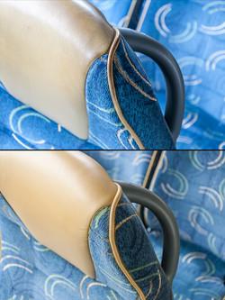 oprava kožených sedaček a olemování v autobuse