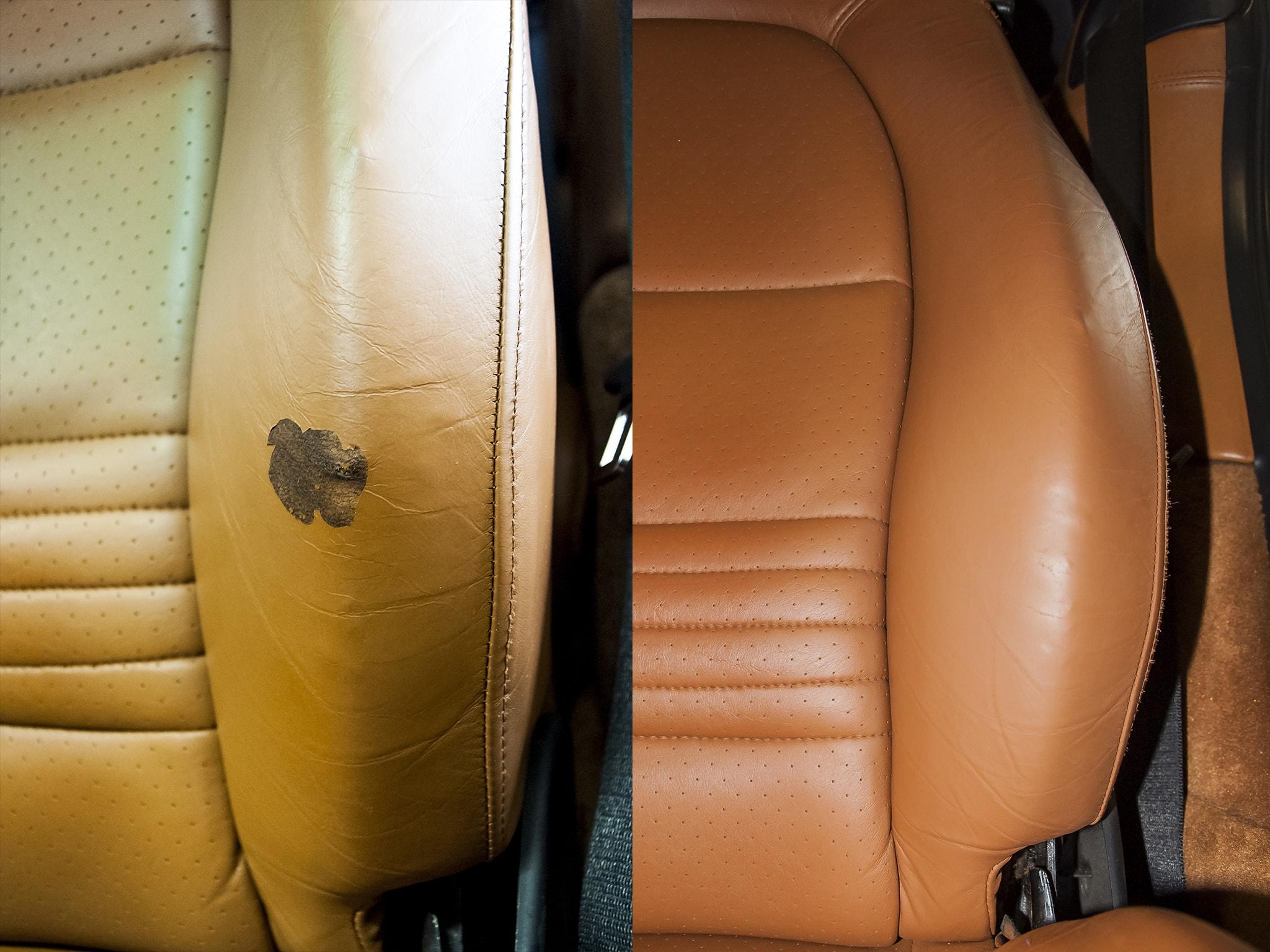 oprava kožené sedačky v Porsche
