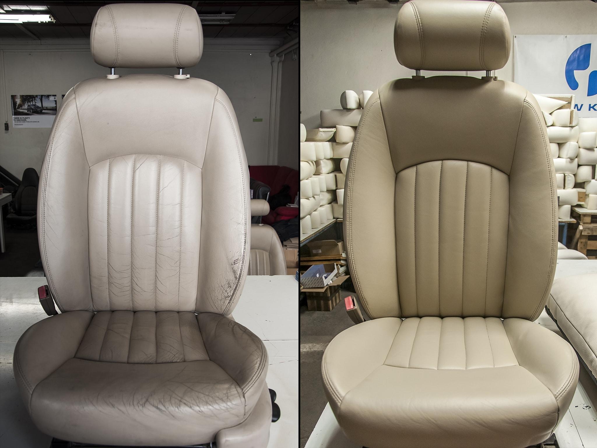 oprava kožené sedačky Jaguár
