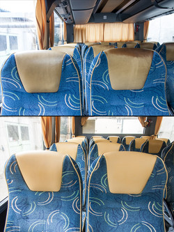 detail opravy poškozených kožených sedaček v autobuse