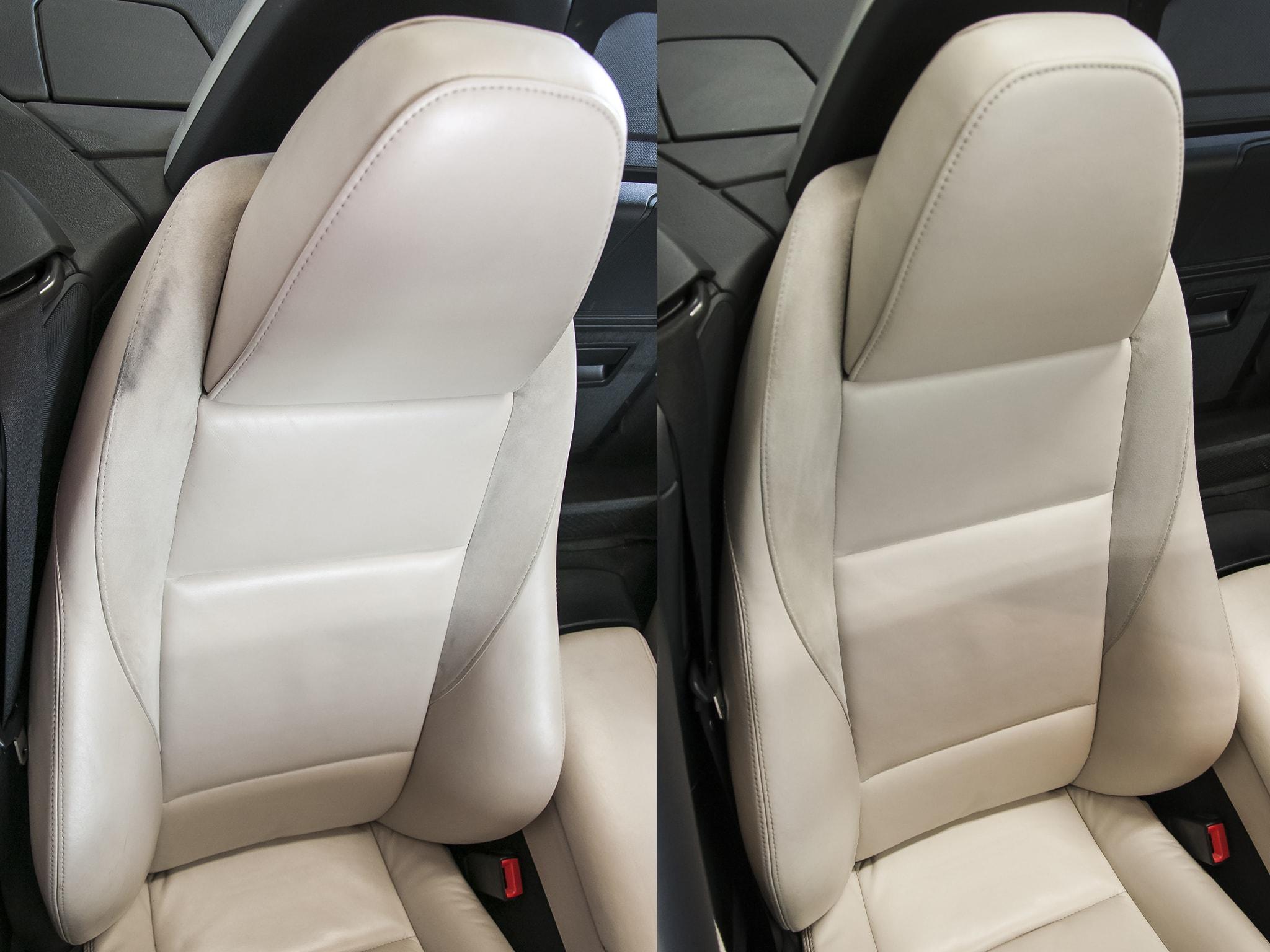 oprava kožené sedačky v BMW Z4 a čištění broušené kůže