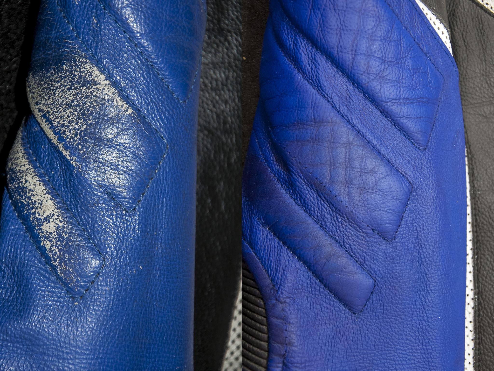 detail opravy barvení kožené moto kombinézy