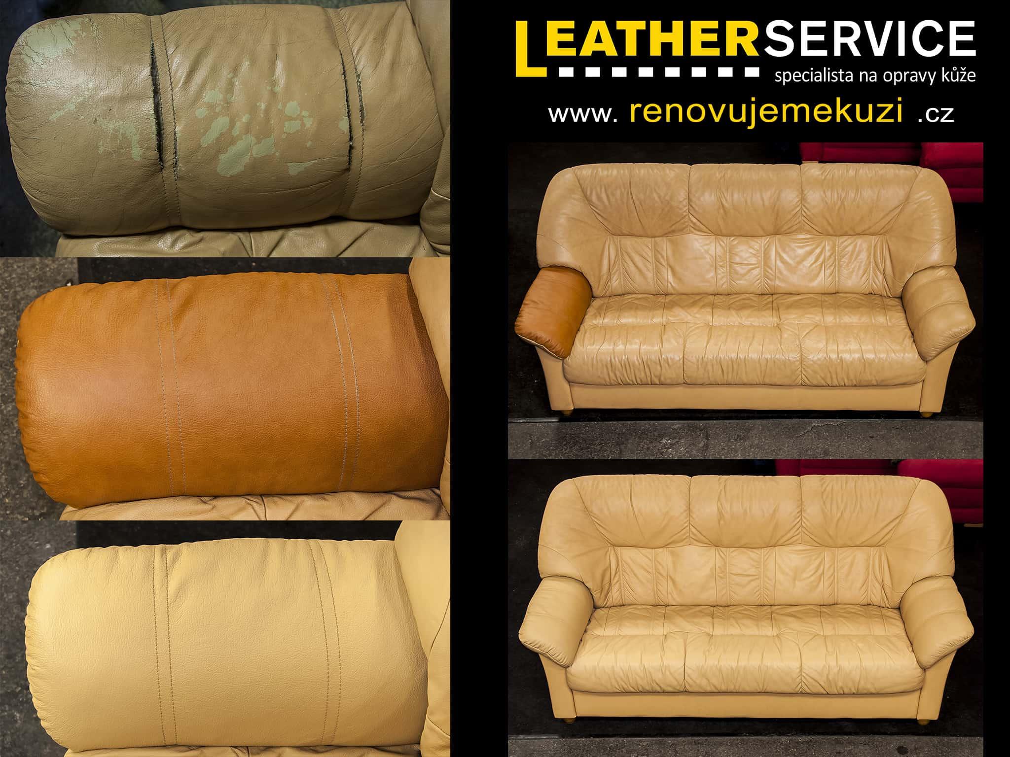 oprava kožené sedací soupravy