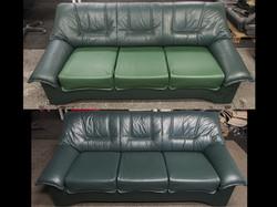 oprava kožené sedací soupravy (výměna a barvení kůže)