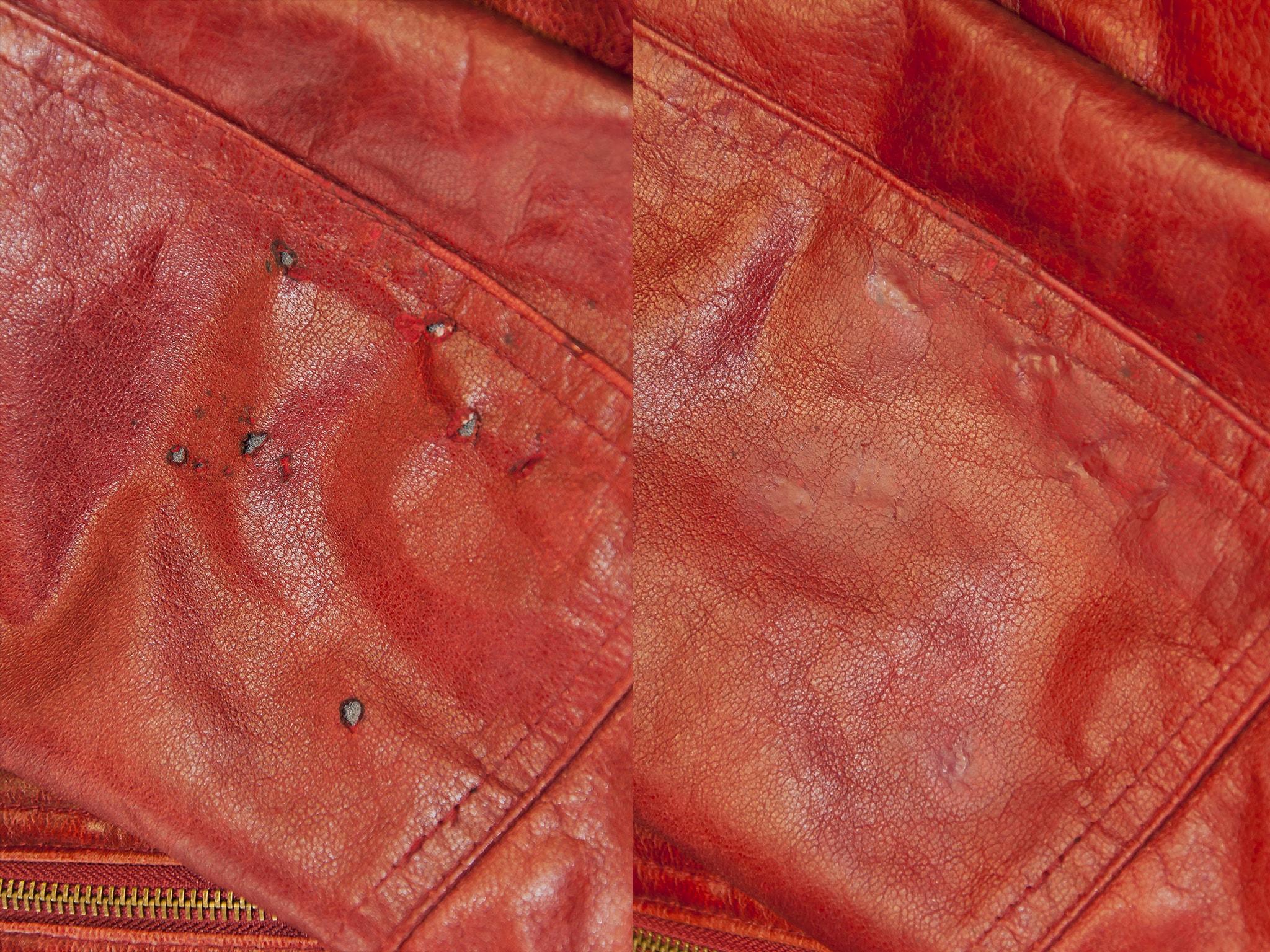 oprava propálené kožené bundy