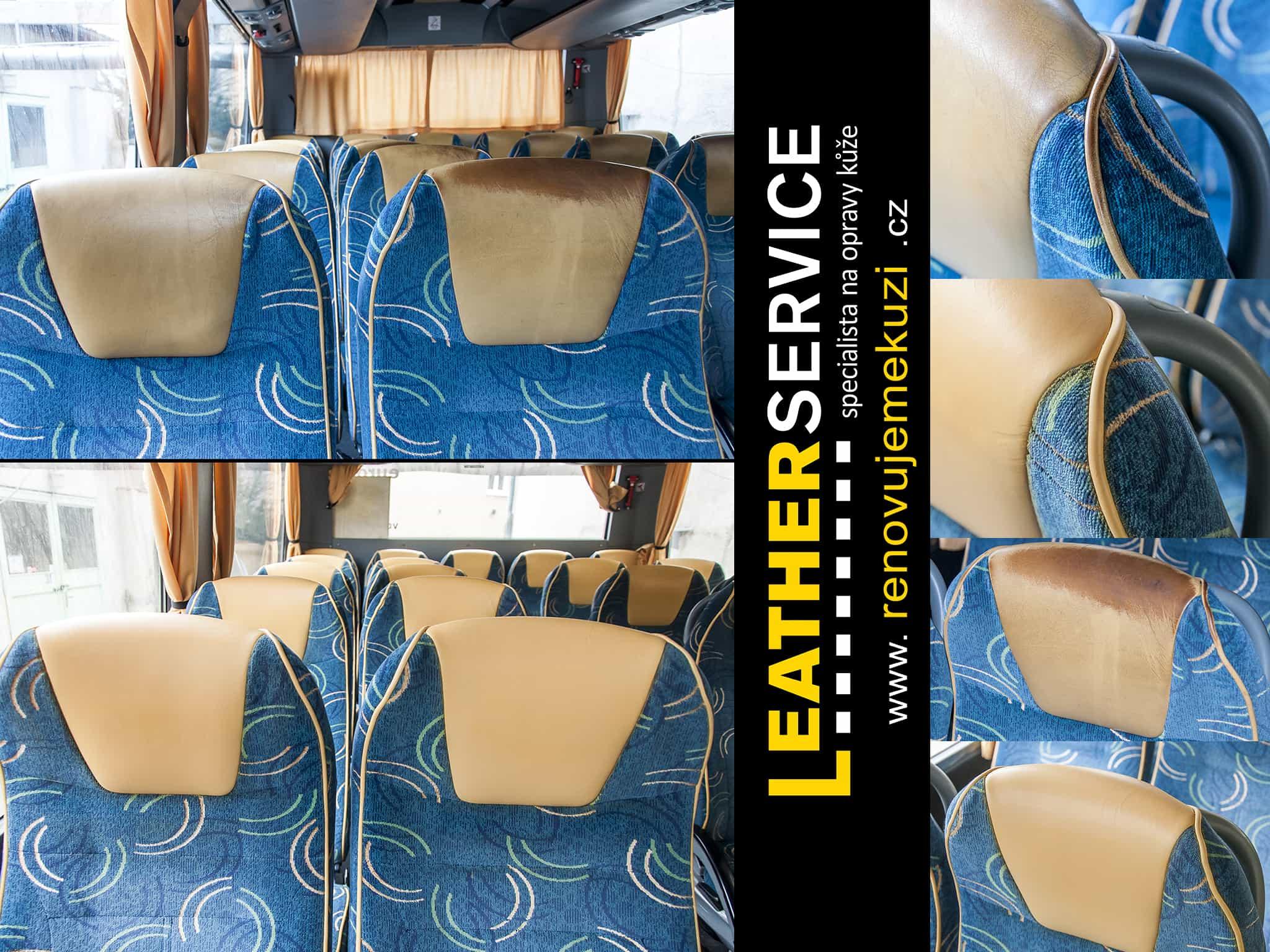 oprava kožených sedaček v autobuse