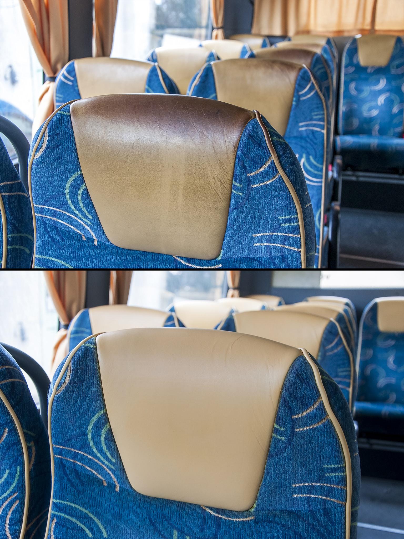 detail opravy kožené sedačky v autobuse