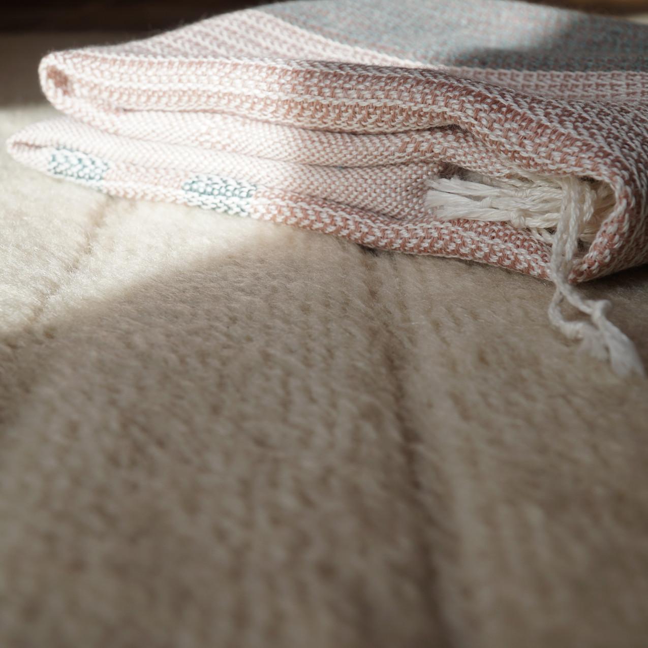 sciarpa lino rosa e ottanio e ortica