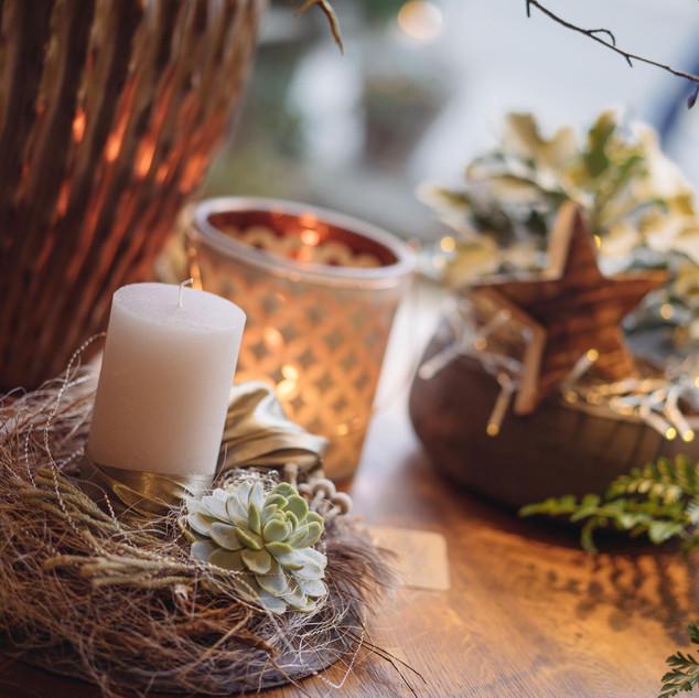 Kränze, Kerzengestecke, Windlichter