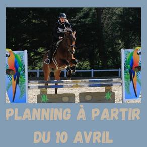 Plannings à partir du 10 avril
