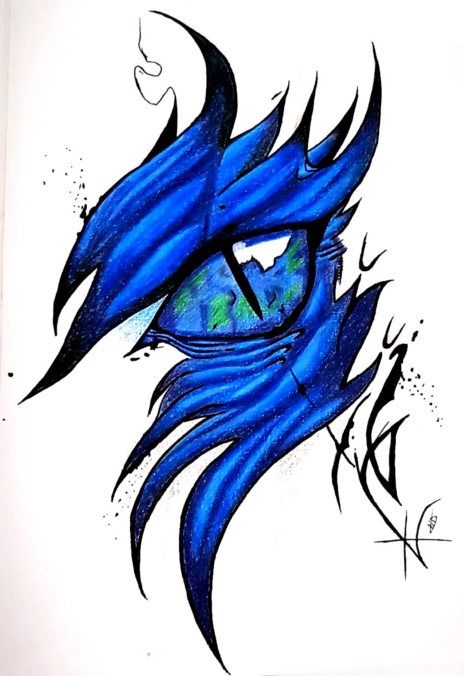 Oeil dragon bleu