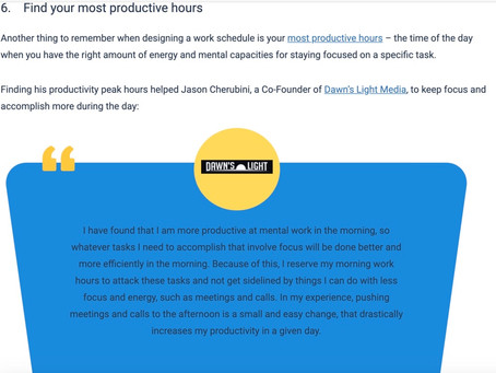 Productivity Quote in Actitime Article