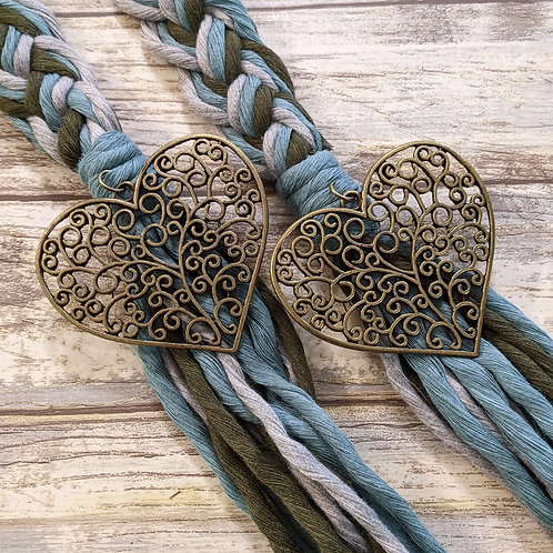 Olive, Teal and Grey Recycled Cotton  12 Strand Handfasting Cord