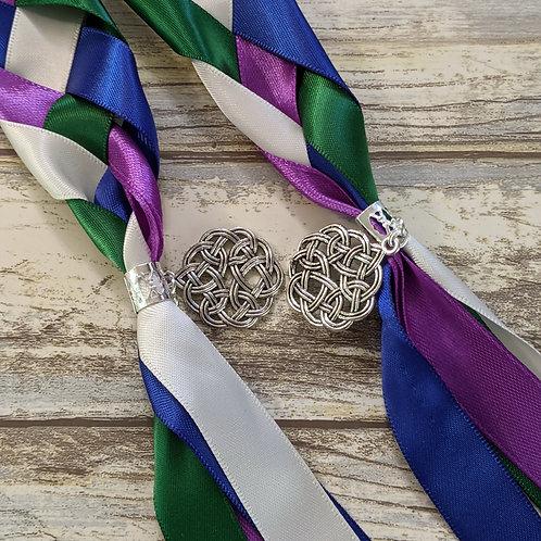 Purple, Royal Bleu, Green and White Satin Handfasting Ribbon