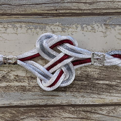 White, Burgundy and Silver 6 Strand Handfasting Cord With Love Knot