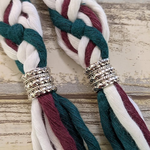 Maroon, Emerald Green and White 8 Strand Recycled Cotton Handfasting Cord