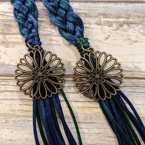 12 Strand Royal Blue and Green Handfasting Cord