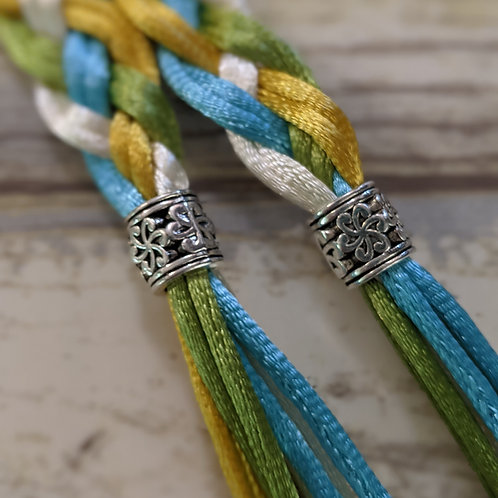 8 Strand Turquoise, Gold, Olive and Ivory Handfasting Cord