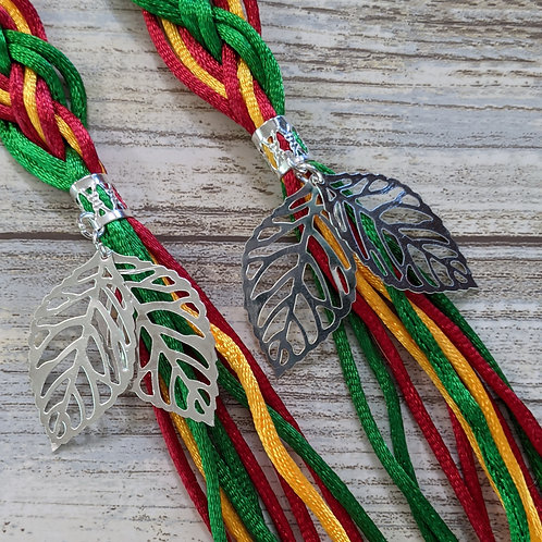 10 Strand Kelly Green, Gold and Scarlet Handfasting Cord
