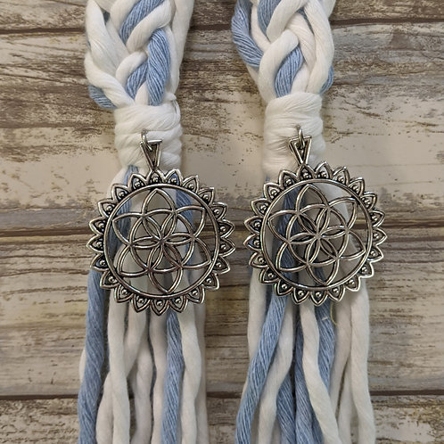 White and Light Blue 12 Strand Recycled Cotton Handfasting Cord