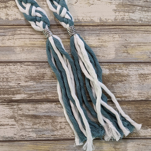 Teal and White 8 Strand Recycled Cotton Handfasting Cord