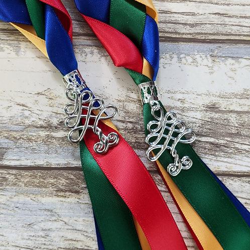 Red, Royal Blue, Green and Gold Handfasting Ribbon
