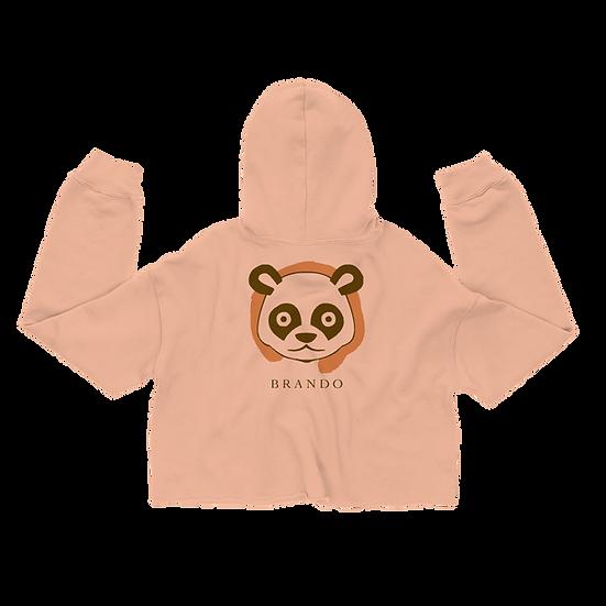 Brando Panda Spirit Women's Cropped Hoodie (Peach)