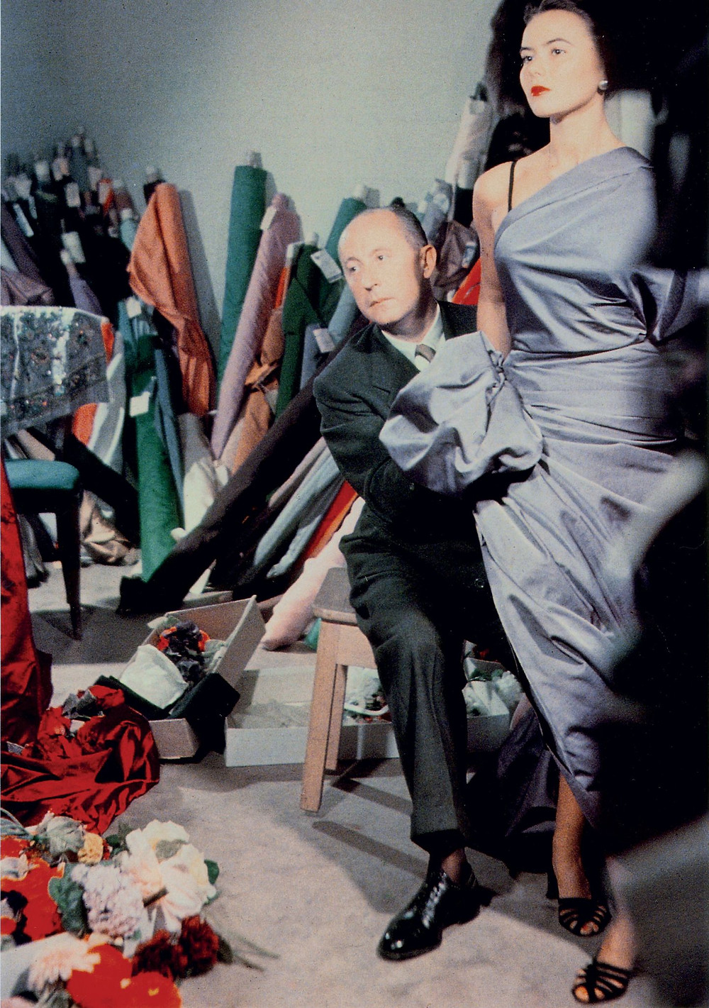 Christian Dior with model Sylvie 1948