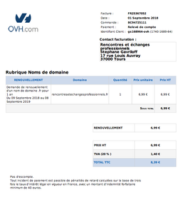 facture ovh sept 2018 - !,39 euros