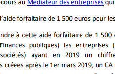 Aide forfaitaire de 1500 euros