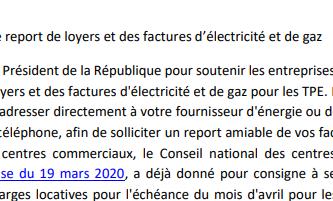 Report de loyers et des factures d'électricité et de gaz