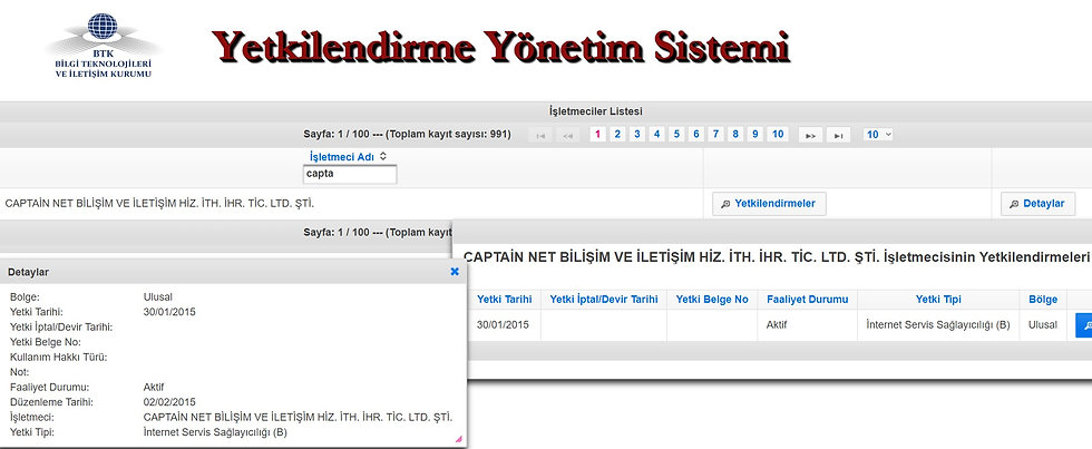 Captain Net İnternet Lisansı