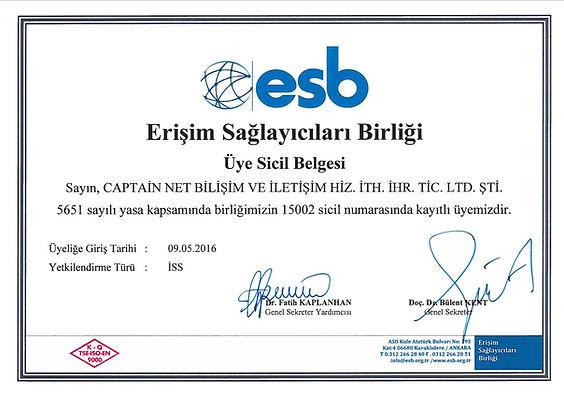Captain Net Eriim Sağlayıcıları Birliği Üyelik Belgesi