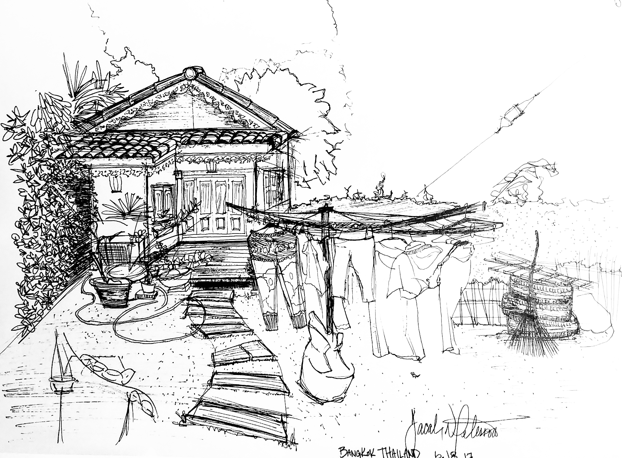 Hand drawn sketch in Thailand