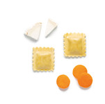 Raviolis de formatge de cabra i pastanaga