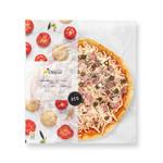 Pizza de pernil dolç i olives