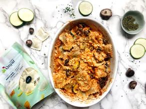 Receta de raviolis de shiitake y calabacín con salsa de feta
