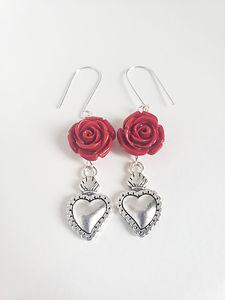 1. Roses & Hearts Earrings Red - $18.jpg