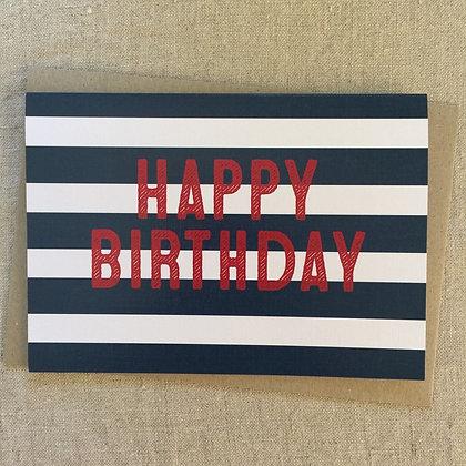Birthday Card - Blue Stripe
