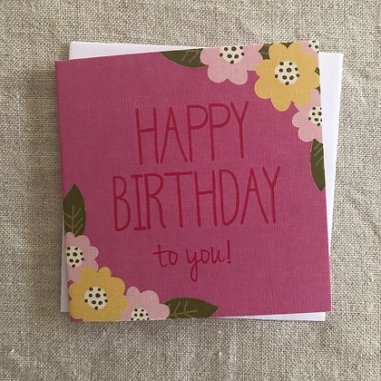 Petit Birthday Card - Pink Blooms