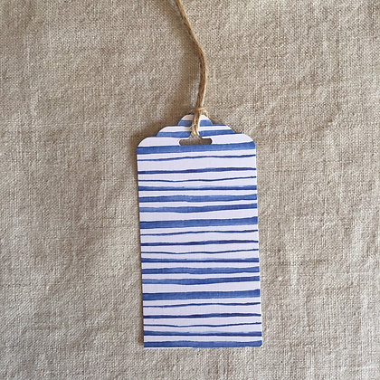 Gift Tag - Blue Watercolour Stripes